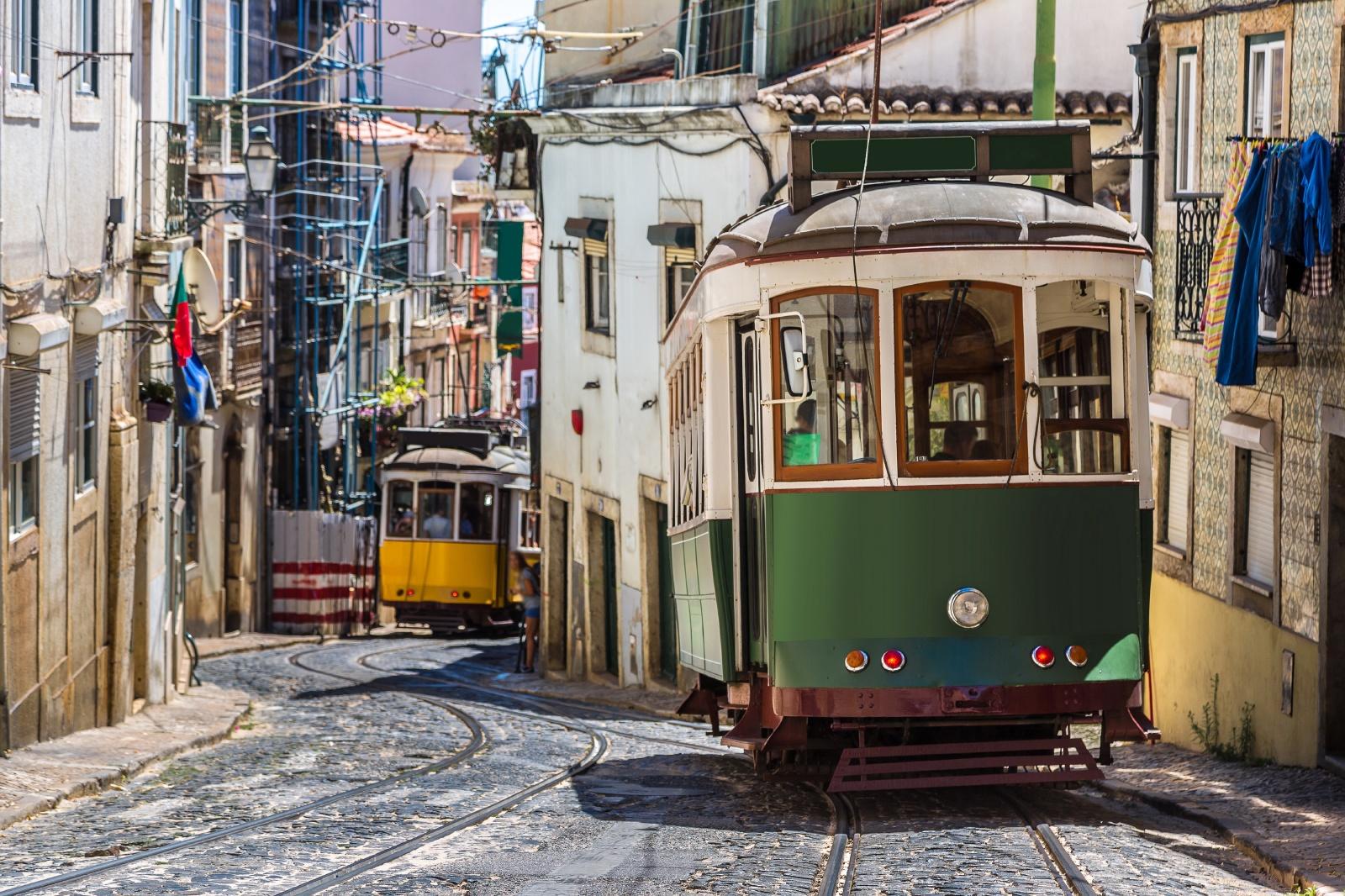 リスボン 路面電車のある風景 ポルトガルの鉄道風景